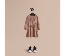 Baumwollkleid mit Blumenmuster und Biesendetail