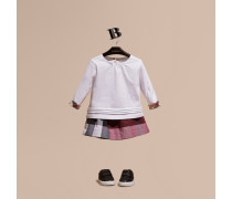 Langärmeliges T-shirt Aus Baumwolle Mit Check-besatz