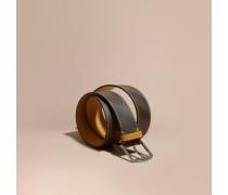 Gürtel in London Check mit Lederbesatz und Steppnahtdetail