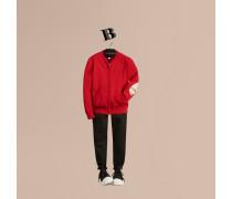 Cardigan im Bomberjacken-Stil aus Baumwolle mit Ellenbogenpatches in Check