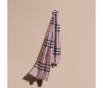 Schal aus Seide und Wolle mit Karomuster in Metallic-Optik