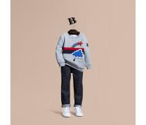 Jersey-sweatshirt Mit Grafischer Wettermotiv-applikation