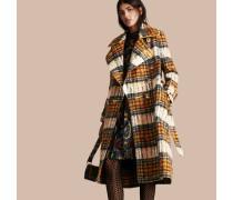 Mantel aus gebürsteter Wolle und Mohair mit Schottenmuster