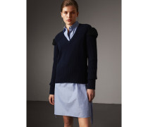 Pullover aus Wolle und Kaschmir mit Lammfellbesatz