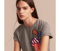Baumwoll-T-Shirt mit Wettermotiv-Applikation