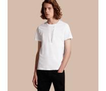 T-Shirt aus Baumwolle mit Streifenmuster und Rüschendetail