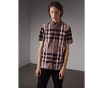 Kurzärmeliges Baumwollhemd mit Karomuster und Button-down-Kragen