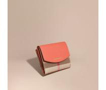 Brieftasche aus House Check-Gewebe und Leder