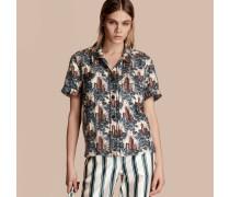 Kurzärmelige Seidenbluse im Pyjamastil mit Burgmotiv