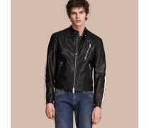 Jacke aus Leder mit Streifendetail