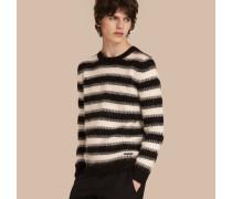 Gestreifter Pullover aus einer Mischung aus Wolle und Mohair in Rippstrick