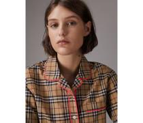 Bluse im Pyjamastil mit Vintage Check-Muster und Paspeldetails