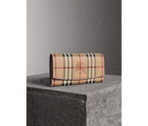 Brieftasche im Kontinentalformat aus Haymarket Check-Gewebe und Leder