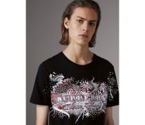T-Shirt aus Baumwolle mit Doodle-Motiv