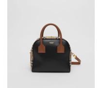 """Kleine Tasche """"Cube"""" aus Leder und Vintage Check-Gewebe"""