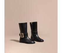 Stiefel im Reiterstil aus Leder mit Schnallendetail