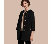 Kragenloser Mantel aus Wolle, Kaschmir und technischer Faser