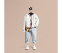 Cardigan aus Baumwollstrick mit Karodetail