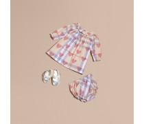 Baumwollkleid in Check mit Herzmuster und Pumphose