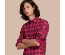 Kurzärmeliges Baumwollhemd mit Vichy-Muster