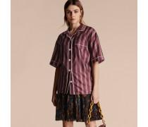 Kurzärmelige Bluse Aus Baumwollseide Mit Panamastreifen