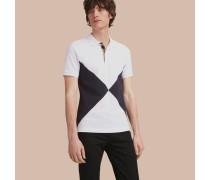 Poloshirt aus Baumwollpiqué mit Knopfleiste im Karodesign und geometrischem Motiv