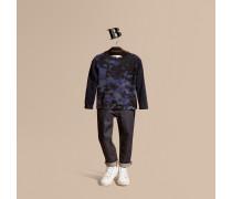 Baumwollpullover Mit Rundhalsausschnitt Und Camouflage-druck