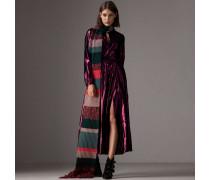 Langärmeliges Lamé-Kleid mit Biesendetail