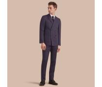 Modern geschnittener Part-Canvas-Anzug aus Leinen und Seide mit Streifenmuster