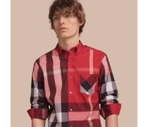 Hemd aus einer Stretchbaumwollmischung im Karodesign mit Button-down-Kragen