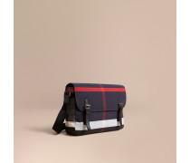 Mittelgroße Messenger-Tasche mit Canvas Check-Muster