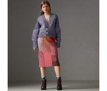 Rock aus Kaschmir und Wolle mit Mouliné-Effekt im Patchworkdesign