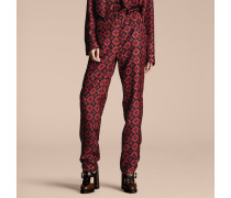 Hose aus Seidentwill im Pyjamastil mit geometrischem Kachelmuster