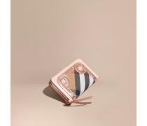 Brieftasche aus Leder, Natternleder und House Check-Gewebe mit umlaufendem Reißverschluss