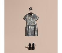 Hemdkleid aus einer Metallic-Seidenmischung mit floralem Druck