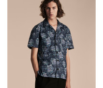 Kurzärmeliges Hemd im Pyjamastil mit Pfingstrosenmotiv