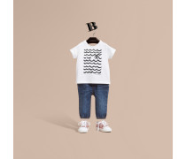 Baumwoll-T-Shirt mit Augen- und Wellenmotiv