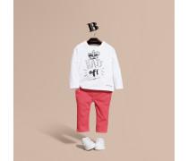"""Langärmeliges Baumwoll-T-Shirt mit """"Hats Off""""-Motiv"""