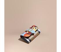 Brieftasche im Kontinentalformat aus House Check-Gewebe mit Pfingstrosenmotiv