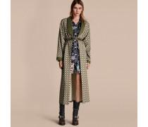 Mantel aus Baumwollseide im Morgenrock-Design mit geometrischem Muster