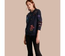 Sweatshirt aus Baumwolle mit floraler Paillettenapplikation