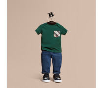 T-shirt Mit Check-tasche