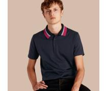 Poloshirt aus Baumwolle mit Strickkragen
