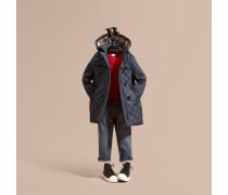 Mantel in Rautensteppung mit abnehmbarer Kapuze