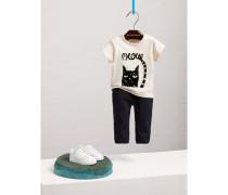 T-Shirt aus Baumwolle mit Katzenmotiv im Flockdruck