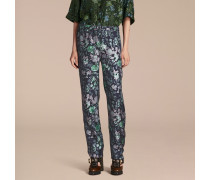 Hose Aus Seidentwill Im Pyjamastil Mit Floralem Muster