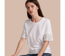 T-Shirt aus Baumwolle mit Spitzenbesatz