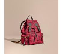 The Medium Rucksack aus Nylon mit Pythonmuster und Lederbesatz