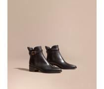 Chelsea-Stiefel aus Leder mit Schnallendetail