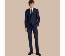 Körperbetonter Part-Canvas-Anzug aus Wolle mit Check-Muster